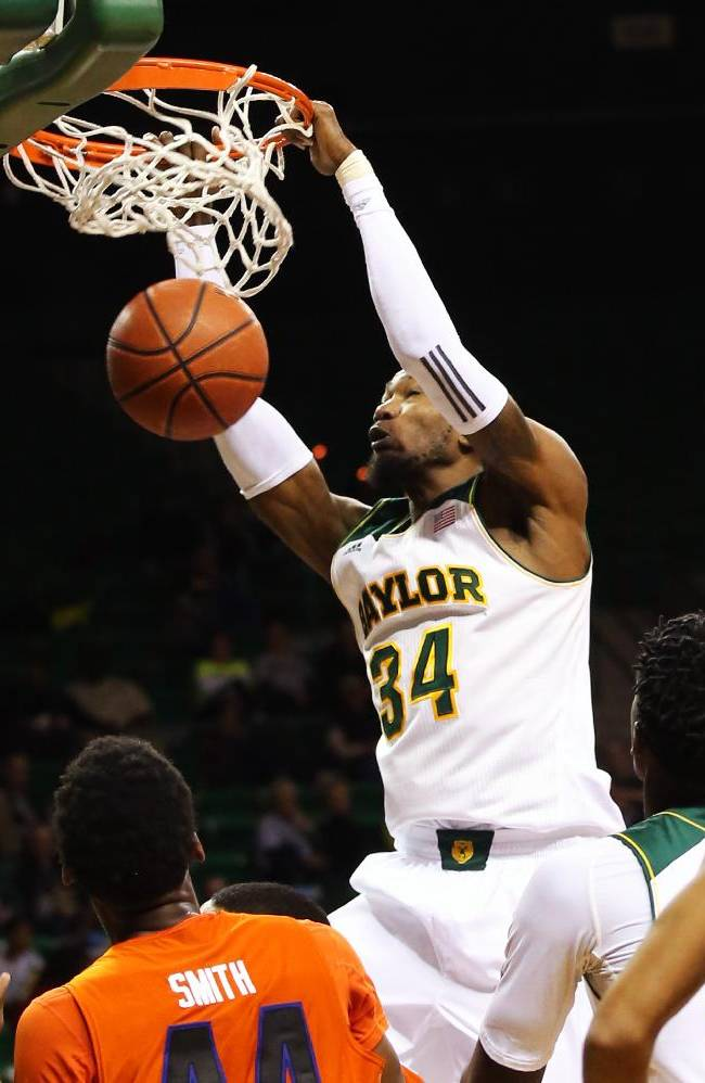 Baylor forward Cory Jefferson scores against Savannah State during the second half of an NCAA college basketball game, Friday, Jan. 3, 2014, in Waco, Texas