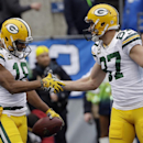 Green Bay Packers' Randall Cobb (18) celebrates his touchdown catch with Jordy Nelson (87) during the first half of the NFL football NFC Championship game against the Seattle Seahawks Sunday, Jan. 18, 2015, in Seattle The Associated Press