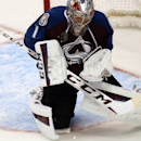 Colorado Avalanche goalie Semyon Varlamov, of Russia, stops a shot with his chest against the New York Islanders in the third period of the Avalanche's 5-0 victory in an NHL hockey game in Denver, Thursday, Oct. 30, 2014 The Associated Press