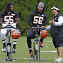 Cincinnati Bengals defensive coordinator Paul Guenther, right, talks with outside linebacker Vontaze Burfict (55) and middle linebacker Rey Maualuga (58) during the NFL football team's first practice at training camp on Thursday, July 24, 2014, in Cincinn