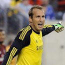 In this Aug. 4, 2013 file photo, AC Milan Chelsea goalkeeper Mark Schwarzer reacts during the second half of the Guinness International Champions Cup soccer match against ACMilan in East Rutherford, N.J.. Chelsea and Australia goalkeeper Mark Schwarzer ha