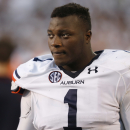 Auburn defensive tackle Montravius Adams (1) reacts after his team's loss to Mississippi State in their NCAA college football game in Starkville, Miss., Saturday, Oct 11, 2014. No. 3 Mississippi State beat No. 2 Auburn 38-23 The Associated Press