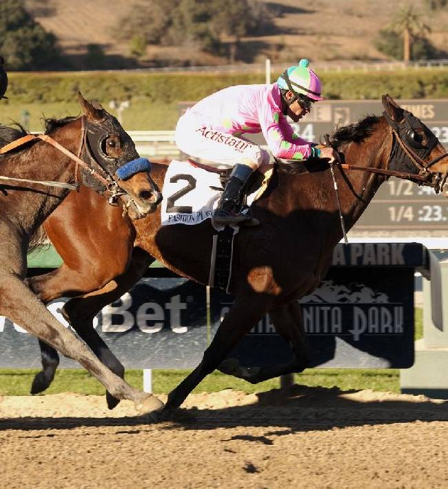 In a photo provided by Benoit Photo, Fashion Plate and Gary Stevens, right, hold off Streaming and Martin Garcia for victory in the Grade I $300,000 Las Virgenes Stakes horse race, Saturday, Feb. 1, 2014, at Santa Anita in Arcadia, Calif