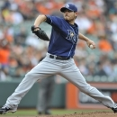 Tampa Bay Rays pitcher Matt Moore delivers against the Baltimore Orioles in the first inning of a baseball game on Sunday, May 19, 2013, in Baltimore. (AP Photo/Gail Burton)