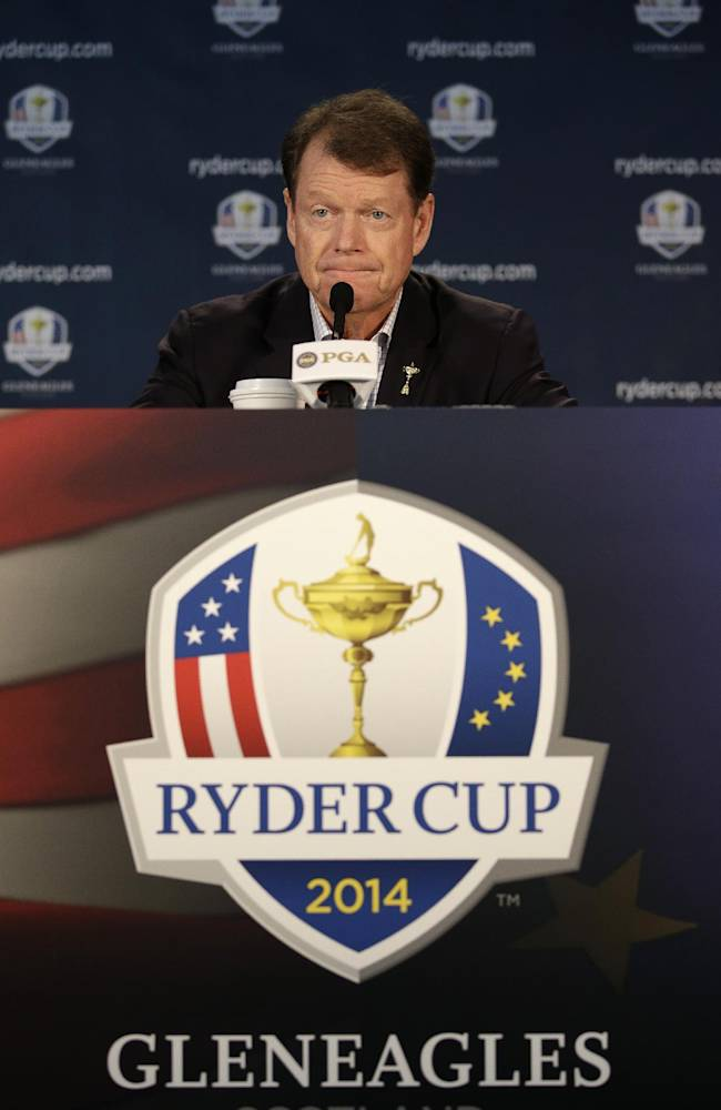 United States Ryder Cup captain Tom Watson speaks at a news conference at Valhalla Golf Club Monday, Aug. 11, 2014, in Louisville, Ky