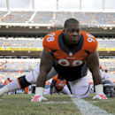 Denver Broncos defensive tackle Terrance Knighton stretches prior to an NFL preseason football game against the Seattle Seahawks, Thursday, Aug. 7, 2014, in Denver The Associated Press