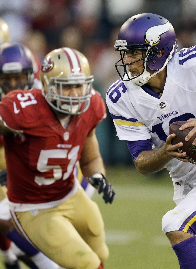 In this Aug. 25, 2013, file photo, Minnesota Vikings quarterback Matt Cassel (16) scrambles as San Francisco 49ers linebacker Dan Skuta (51) pursues during the fourth quarter of an NFL preseason football game in San Francisco. Cassel will start at quarterback on Sunday against the Pittsburgh Steelers at London's Wembley Stadium, in place of injured Christian Ponder, the team said Friday, Sept. 27, 2013