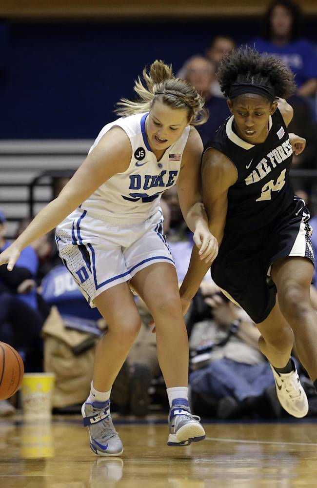Duke's Tricia Liston, left, and Wake Forest's Kelila Atkinson chase the ball during the second half of an NCAA college basketball game in Durham, N.C., Thursday, Feb. 27, 2014. Duke won 71-56