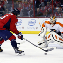 Washington Capitals left wing Alex Ovechkin (8), from Russia, prepares to shoot the puck as Philadelphia Flyers goalie Rob Zepp (72) defends in the first period of an NHL hockey game, Wednesday, Jan. 14, 2015, in Washington The Associated Press