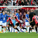 Sunderland's Seb Larsson, center, celebrates his goal during their English Premier League soccer match against Everton at the Stadium of Light, Sunderland, England, Sunday, Nov. 9, 2014