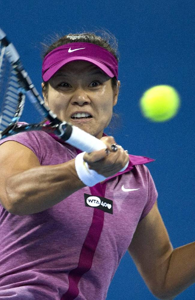 Li Na of China returns a shot to Sabine Lisicki of Germany during the China Open tennis tournament at the National Tennis Stadium in Beijing, China Wednesday, Oct. 2, 2013