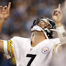 Pittsburgh Steelers' Ben Roethlisberger gestures after throwing a touchdown pass against the Carolina Panthers during the second half of an NFL football game in Charlotte, N.C., Sunday, Sept. 21, 2014 The Associated Press