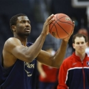 Arizona's Solomon Hill looks to shoot during practice for a regional semifinal game in the NCAA college basketball tournament in Los Angeles, Wednesday, March 27, 2013. Arizona plays Ohio State Thursday. (AP Photo/Jae C. Hong)