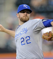 Kansas City Royals pitcher Wade Davis delivers the ball to the New York Mets during the first inning of an interleague baseball game Friday, Aug. 2, 2013 at Citi Field in New York. (AP Photo/Bill Kostroun)