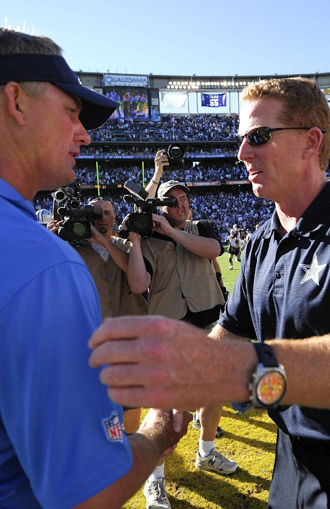 San Diego Chargers head coach Mike McCoy, left, shakes hands with Dallas Cowboys head coach Jason Garrett after the Chargers beat Cowboys 30-21 in an NFL football game Monday, Sept. 29, 2013, in San Diego