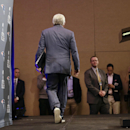 New England Patriots owner Robert Kraft leaves the stage after reading a statement during a news conference Monday, Jan. 26, 2015, in Chandler, Ariz. The Patriots play the Seattle Seahawks in NFL football Super Bowl XLIX Sunday, Feb. 1, in Phoenix The Ass