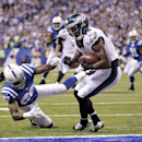 Philadelphia Eagles wide receiver Jeremy Maclin (18) makes six yard touchdown reception against Indianapolis Colts' Greg Toler during the second half of an NFL football game Monday, Sept. 15, 2014, in Indianapolis The Associated Press
