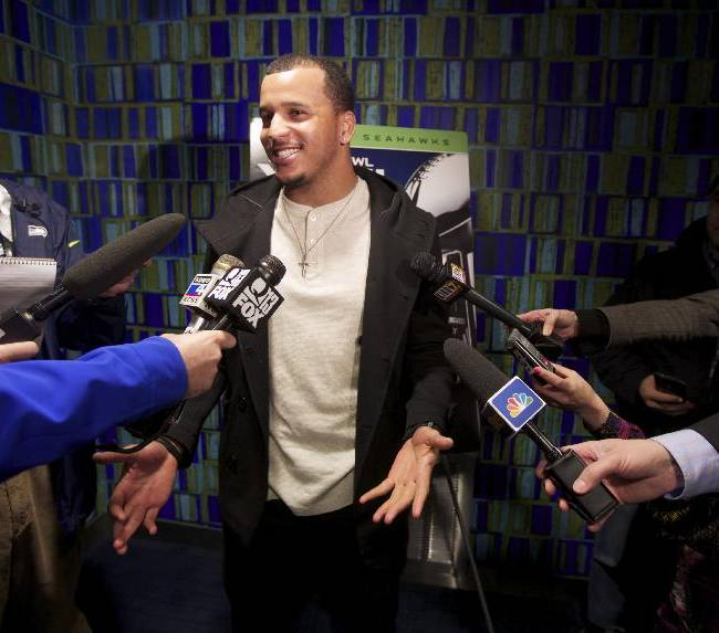 Seattle Seahawks wide receiver Jermaine Kearse answers question before the premiere of NFL Films'
