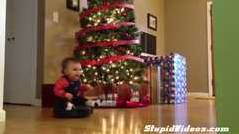 Baby Enjoys A Roomba Ride Around The Christmas Tree