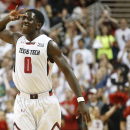 Texas Tech's Devaugntah Williams celebrates after shooting a 3-point shot during an NCAA college basketball game against Iowa State in Lubbock, Texas, Saturday, Jan. 24, 2015. (AP Photo/Lubbock Avalanche-Journal, Tori Eichberger)