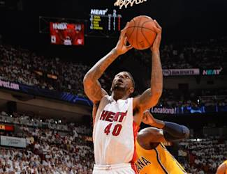 MIAMI, FL - MAY 24: Udonis Haslem #40 of the Miami Heat drives to the basket against the Indiana Pacers in Game Three of the Eastern Conference Semifinals during the 2014 NBA Playoffs on May 24, 2014 at American Airlines Arena in Miami, Florida. (Photo by Jesse D. Garrabrant/NBAE via Getty Images)