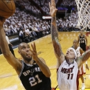 San Antonio Spurs power forward Tim Duncan (21) shoots against Miami Heat power forward Chris Andersen (11) during the first half of Game 1 of basketball's NBA Finals, Thursday, June 6, 2013 in Miami. (AP Photo/Mike Ehrmann, Pool)