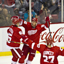 Detroit Red Wings forward Stephen Weiss, middle, celebrates his goal with defenseman Danny DeKeyser, left, and defenseman Kyle Quincey (27), during the second period of an NHL hockey game against the Ottawa Senators in Detroit, Monday, Nov. 24, 2014 The A