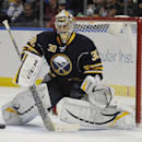 Buffalo Sabres goaltender Ryan Miller makes a save during the second period of an NHL hockey game against the Ottawa Senators in Buffalo, N.Y., Tuesday, Dec. 10, 2013. Buffalo won 2-1 The Associated Press
