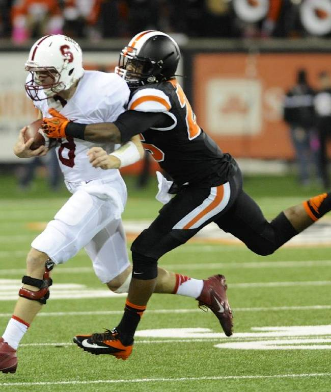 Gaffney runs for 3 TDs, No. 8 Stanford beats OSU
