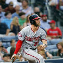 Washington Nationals right fielder Bryce Harper (34) follows through on a double in the fifth inning of a baseball game against the Atlanta Braves Tuesday, June 30, 2015, in Atlanta. (AP Photo/John Bazemore)