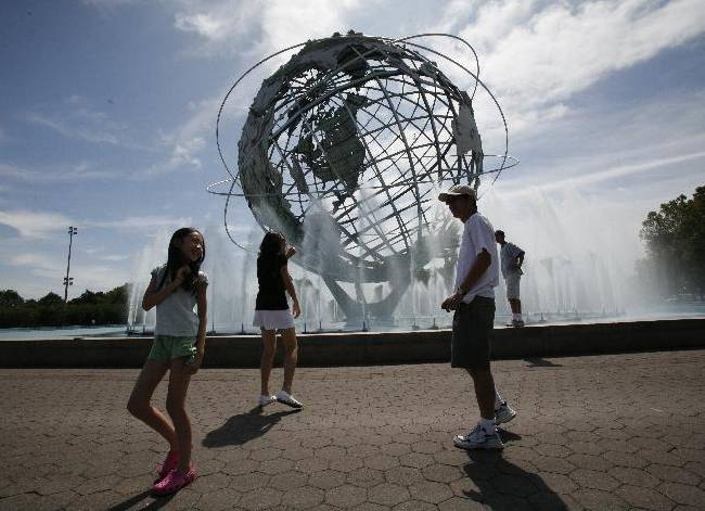 A general view of the Unisphere at Flushing Meadows Corona Park during the 2008 U.S. Open Tennis tournament on Wednesday, Aug. 27, 2008, in New York