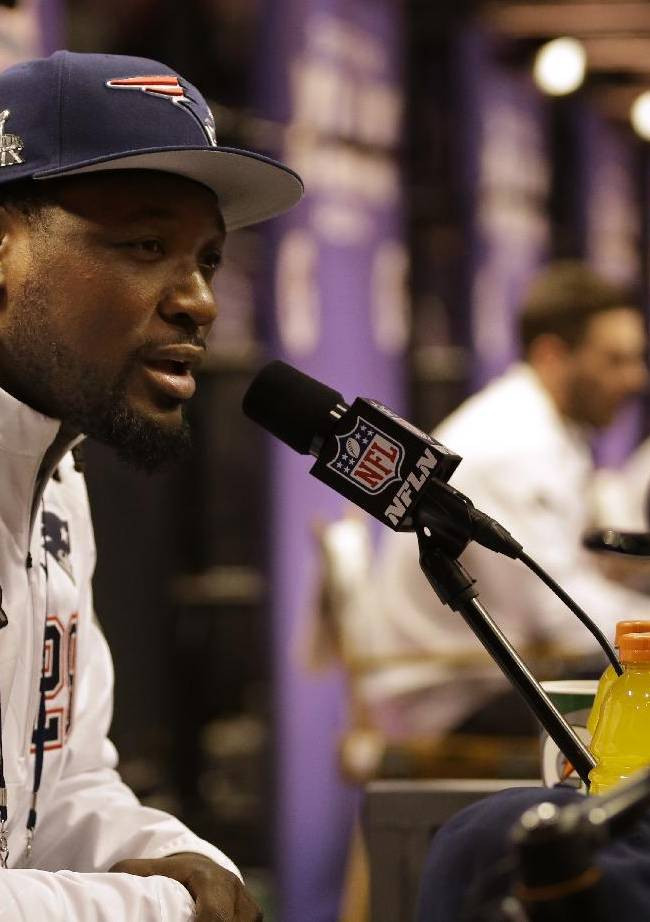 New England Patriots' LeGarrette Blount answers questions during media day for NFL Super Bowl XLIX football game Tuesday, Jan. 27, 2015, in Phoenix