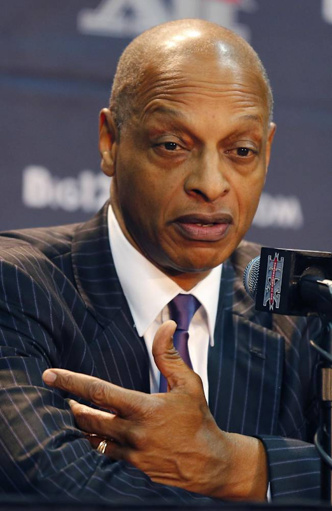 TCU coach Trent Johnson answers a questions at a news conference during Big 12 NCAA college basketball media day in Kansas City, Mo., Tuesday, Oct. 22, 2013