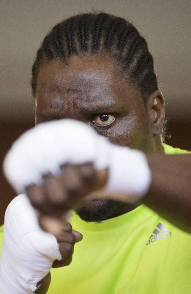 Guillermo Jones, of Panama, attends an open training session in Moscow, Russia, Wednesday, April 23, 2014. In May 2013 Guillermo Jones, of Panama, stopped the then title holder, Denis Lebedev on a technical knockout in the 11th round. Then, the WBA handed the title back to Lebedev when Jones failed a drug test. Jones was made WBA champion-in-recess on the condition he must fight Lebedev again. A rematch is scheduled for April 25 in Moscow