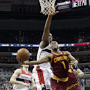 Cleveland Cavaliers guard Jarrett Jack (1) shoots in front of Washington Wizards center Kevin Seraphin, from France, in the first half of an NBA basketball game on Saturday, Nov. 16, 2013, in Washington The Associated Press