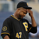 Pittsburgh Pirates starting pitcher Francisco Liriano collects himself during the first inning of a baseball game against the St. Louis Cardinals in Pittsburgh pn Saturday, April 5, 2014 The Associated Press
