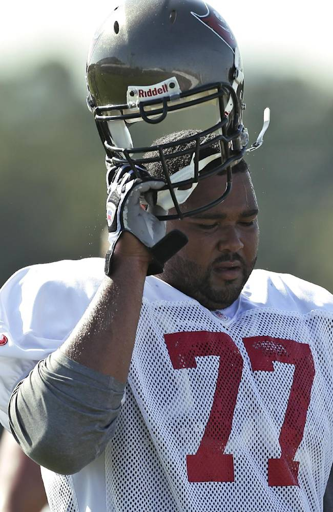 Tampa Bay Buccaneers guard Carl Nicks during an NFL football training camp Monday, July 29, 2013, in Tampa, Fla
