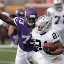 Oakland Raiders running back Maurice Jones-Drew (21) tries to elude Minnesota Vikings defensive tackle Sharrif Floyd (73) in the first half of a preseason NFL football game in Minneapolis, Friday, Aug. 8, 2014 The Associated Press