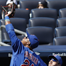 Chicago Cubs third baseman Luis Valbuena (24) catches Dean Anna's second inning pop out in front of the Cubs dugout in Game 1 of an interleague baseball doubleheader at Yankee Stadium in New York, Wednesday, April 16, 2014 The Associated Press
