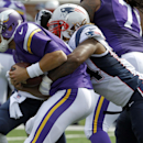 Minnesota Vikings quarterback Matt Cassel, left, is sacked for an 8-yard loss by New England Patriots linebacker Dont'a Hightower during the third quarter of an NFL football game Sunday, Sept. 14, 2014, in Minneapolis The Associated Press