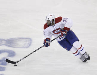 Montreal Canadiens' P.K. Subban skates during the third period of Game 3 of the NHL hockey Stanley Cup playoffs Eastern Conference finals against the New York Rangers, Thursday, May 22, 2014, in New York. (AP Photo/Seth Wenig)