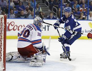 New York Rangers goalie Henrik Lundqvist (30), of Sweden, looks back as Tampa Bay Lightning left wing Ondrej Palat (18), of the Czech Republic, scores during the second period of Game 3 of the Eastern Conference finals, in the NHL hockey Stanley Cup playoffs Wednesday, May 20, 2015, in Tampa, Fla. (AP Photo/Chris O'Meara)