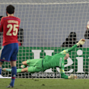 Manchester City's goalkeeper Joe Hart fails to save a penalty from CSKA's Bebras Natcho who scored his side's second goal during the Champions League Group E soccer match between CSKA Moscow and Manchester City at Arena Khimki stadium in Moscow, Russia, T