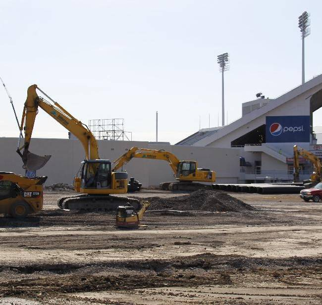 Work continues on the renovation of Ralph Wilson Stadium, home of the NFL football team Buffalo Bills, in Orchard Park, N.Y., Thursday, April 10, 2014. Don't rule out Niagara Falls as a potential future home of the Bills. Several officials told The Associated Press that a newly formed Bills stadium task force of public and private leaders seeking to bolster the team's long-term viability is considering sites that would put it closer to the team's burgeoning Ontario fan base. The stadium is currently undergoing $130 million in upgrades
