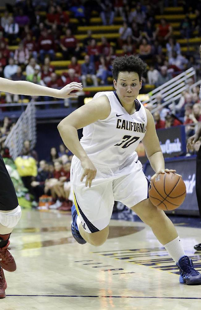 In this photo taken on Feb. 2, 2013, California guard Mikayla Lyles (30) dribbles past Stanford forward Bonnie Samuelson during the second half on an NCAA college basketball game in Berkeley, Calif. Lyles moved into the starting lineup for the first time in her four-year California career during a pair of games against rival Stanford last week, and did everything to show she belongs by knocking down clutch shots and making key hustle plays