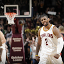 CLEVELAND, OH - JANUARY 28: Kyrie Irving #2 of the Cleveland Cavaliers celebrates during the game against the Portland Trail Blazers on January 28, 2015 at Quicken Loans Arena in Cleveland, Ohio. (Photo by David Liam Kyle/NBAE via Getty Images)