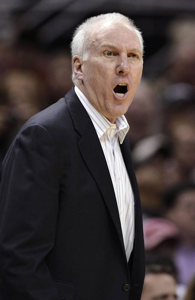 San Antonio Spurs head coach Gregg Popovich yells at an official during the second half of an NBA basketball game against the New Orleans Pelicans on Saturday, March 29, 2014, in San Antonio. San Antonio won 96-80