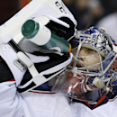Columbus Blue Jackets goalie Sergei Bobrovsky, of Russia, cools off during a break in the second period of an NHL hockey game against the Philadelphia Flyers, Thursday, April 3, 2014, in Philadelphia The Associated Press
