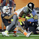 Miami Dolphins' Brent Grimes tackles Pittsburgh Steelers' Antonio Brown during the first half of the NFL Football Pro Bowl Sunday, Jan. 25, 2015, in Glendale, Ariz The Associated Press