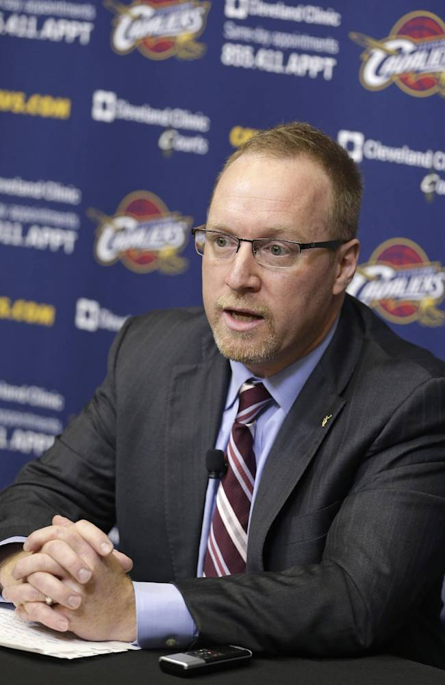 Cleveland Cavaliers general manager David Griffin answers questions during a news conference Tuesday, May 13, 2014, in Independence, Ohio. Griffin said All-Star point guard Kyrie Irving had nothing to do with coach Mike Brown's firing. Brown was dismissed for the second time by the Cavaliers, who went 33-49 this season but missed the NBA playoffs for the fourth straight year. Brown previously coached the Cavaliers from 2005-2010, guiding the team to the finals in 2007. (AP Photo)